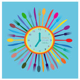 Watch with cutlery Royalty Free Stock Photos