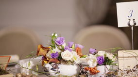 Watch decorated table with flowers stock video