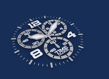 Watch detail in blue 3D time Royalty Free Stock Images