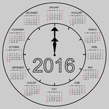 Watch dial calendar 2016 new year. Week starts from Sunday royalty free illustration