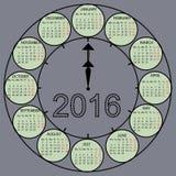 Watch dial hands 2016 year vector calendar Stock Photos