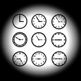 Watch dials eps10. Black watch dials eps10 with set time Stock Illustration