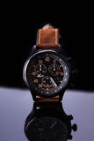 Watch expedition arrow with brown leather strap Royalty Free Stock Photography