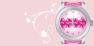watch för pink för bakgrundsbanerkvinnlig Royaltyfri Foto