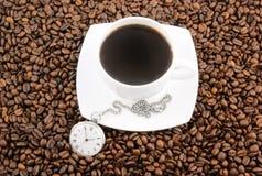 watch för tid för korn för kaffekopp royaltyfria foton