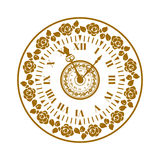 Watch face antique clock vector illustration. Royalty Free Stock Image