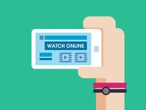 Watch game online on smart phone Royalty Free Stock Images