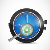 Watch gear and magnify illustration Stock Image