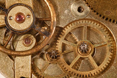 Watch Gears. Closeup of the interlocking gears of a pocket watch Stock Image