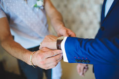 Watch on Groom's Hand Royalty Free Stock Photos