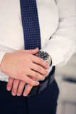 Watch on a hand at the man Royalty Free Stock Image