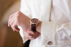 Watch on hands Stock Photos