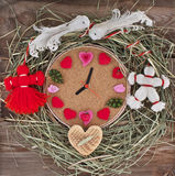 Watch with hearts in the nest. Stock Images