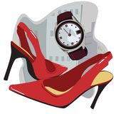 Watch and high heels. Vector objects associated with the style of high heels and watches Royalty Free Stock Images