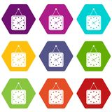 Watch icon set color hexahedron Stock Photo