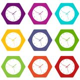 Watch icon set color hexahedron Stock Photos