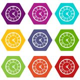 Watch icon set color hexahedron Royalty Free Stock Image