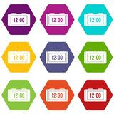 Watch icon set color hexahedron Royalty Free Stock Photography