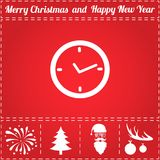 Watch Icon Vector. And bonus symbol for New Year - Santa Claus, Christmas Tree, Firework, Balls on deer antlers Royalty Free Stock Photography
