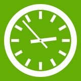 Watch icon green. Watch icon white isolated on green background. Vector illustration Stock Image