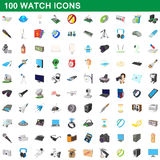 100 watch icons set, cartoon style. 100 watch icons set in cartoon style for any design vector illustration Royalty Free Stock Photo