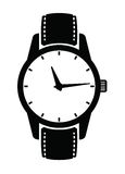 Watch icons. Vector black Watch icons set on white Royalty Free Stock Image