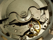 Watch insides. A macro shot of an automatic winding watch Royalty Free Stock Images