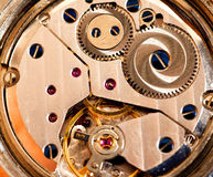 Watch interior. Interior of a mechanical watch royalty free stock photography