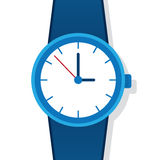Watch. Large blue watch face and strap stock illustration