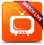 Watch live orange square button red ribbon in corner. Watch live isolated on orange square button with red ribbon in corner abstract illustration Stock Image