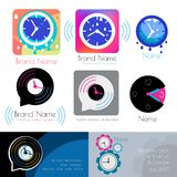 Watch logo. Time icon. Clock logo icon. Clock silhouette . Over time sign. Music watch logo. Business card on the theme of time. Colored clock silhouette Royalty Free Stock Images
