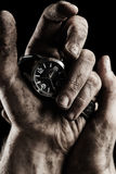 Watch in male hand Royalty Free Stock Photography