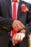 Watch on a man`s hand, the fees of the groom. Closeup Royalty Free Stock Photo