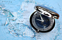 Watch on map 1. Watch on map - showing different timezones royalty free stock photography