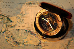Watch on map 3 B&W. Pocketwatch on map - showing different timezones Royalty Free Stock Photos