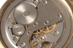 Watch mechanism close up. Old watch mechanism close up Royalty Free Stock Photo