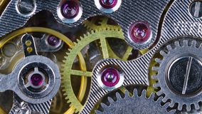 Watch mechanism close up. The mechanism of old mechanical wrist watches close-up stock footage