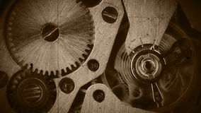 Watch mechanism close-up. Old film Royalty Free Stock Images