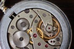 Watch mechanism, mechanical pocket. Watch mechanism, antique mechanical pocket watch close up Stock Images
