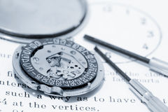 Watch mechanism and tools Stock Photography