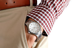 Watch on the men's hand Royalty Free Stock Photo