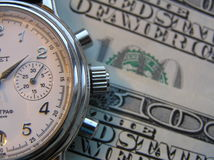 Watch and money. Business watch and dollars (background Stock Photo