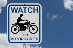 Watch For Motorcycles Warning Sign Royalty Free Stock Photography