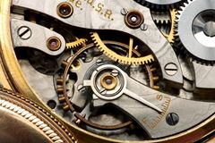 Watch movement. Macro shot of mechanism from an antique pocket watch Stock Photography