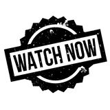 Watch Now rubber stamp. Grunge design with dust scratches. Effects can be easily removed for a clean, crisp look. Color is easily changed Royalty Free Stock Images