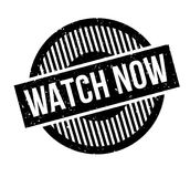 Watch Now rubber stamp. Grunge design with dust scratches. Effects can be easily removed for a clean, crisp look. Color is easily changed Royalty Free Stock Photography
