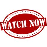 Watch now. Stamp with text watch now inside,  illustration Royalty Free Stock Photos