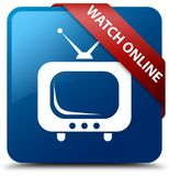 Watch online blue square button red ribbon in corner. Watch online isolated on blue square button with red ribbon in corner abstract illustration Stock Image