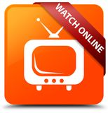 Watch online orange square button red ribbon in corner. Watch online isolated on orange square button with red ribbon in corner abstract illustration Stock Photos
