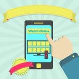 Watch online through phone Stock Photo